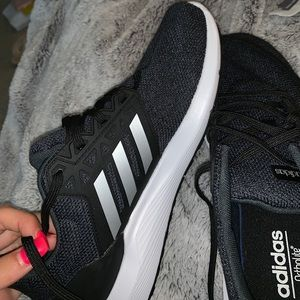 adidas cloud foam navy and black running shoes